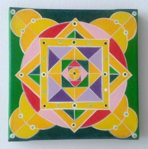 Mandala - rumena, 20x20cm 1
