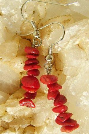 uhani rdeča korala palčka 2532 1